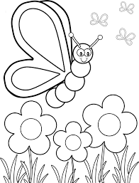 Small Picture Simple Flower Coloring Page With Butterfly For Kids Coloration