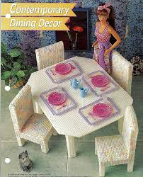 free barbie furniture patterns. plastic canvas doll furniture dining set table and chairs free patternsplastic craftsbarbie barbie patterns e
