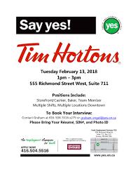 Tim Hortons Resume Job Description February 60th Hiring Event Tim Hortons Youth Employment 60