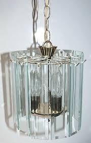 mid century modern beveled glass sheet prism rounded chandelier pendant 3 light parts vintage beveled glass chandelier