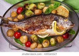 cooked fish images. Contemporary Fish Roasted Dorado Fish With Brussels Sprouts Tomatoes Garlic Young Potato  And Greens And Cooked Fish Images S