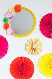 diy mexican fiesta mirror with paper flowers
