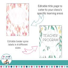 Binder Cover Page Editable Teacher Binder Covers Eucalyptus Design
