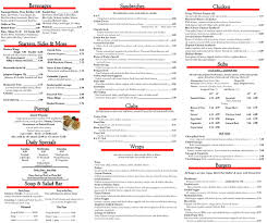Restaurant Menu For Potts Deli And Grille Buffalo Ny