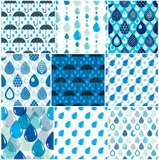 Drops Patterns Cool Rain Drops And Umbrellas Seamless Patterns Set Weather Nature M