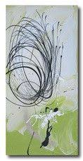 >abstract art canvas painting lime green white black wall art  abstract art lime green black silver
