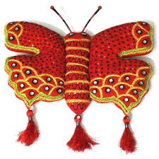 decorative wall hanging handmade cotton red erfly