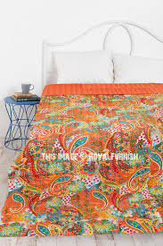 queen size paisley indian kantha quilt throw blanket bedding