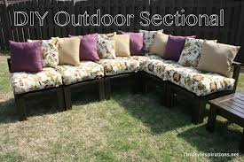 simple diy outdoor patio wooden sectional furniture with fl cushions and purple pillows