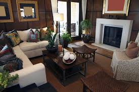 asian inspired living room design with brown wall tiles white fireplace white l