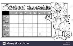 School Time Table Chart Black And White Stock Photos