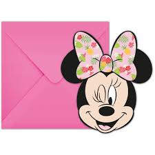 Minnie Mouse Tropical Invitations 6 Pieces
