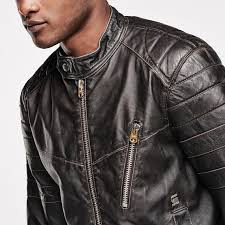 features sporty leather biker jacket