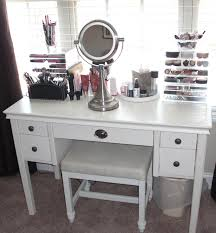 rectangle white wooden makeup table with drawers and legs