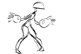 I started to put in the basic shapes i realized that the legs don't move very much so i changed the timing on the one below