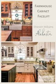 farmhouse kitchen cabinets painted in sherwin williams alabaster