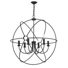 orb circular black gyroscope ceiling pendant light