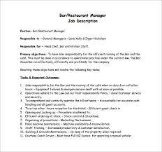 Bar Staff Job Description Restaurant Manager Job Description Template Business