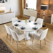 modern extending dining set oval round glass table 6 white chairs