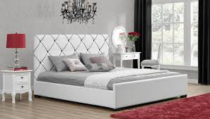 white upholstered beds. Dorel Hollywood White With Black Detail King Faux Leather Upholstered Bed Beds