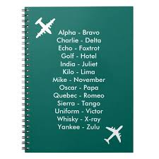 These are used to avoid misunderstanding due to difficult to spell words, different pronunciations or poor line communication. Phonetic Alphabet Airplane Blue Air Cadet Notebook Zazzle Com