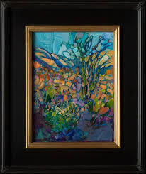 framed petite oil painting of borrego springs in a colorful impressionistic style