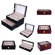 watch storage cases wood watch gift box leather jewelry collection display storage case clear top