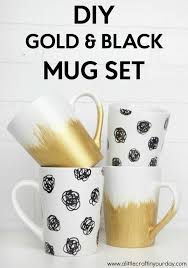 diy black gold mug set