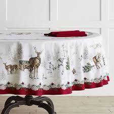 snowman tablecloth round williams sonoma rh williams sonoma com