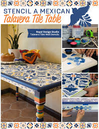 how to stencil a talavera tile table via paint pattern on talavera style wall art with stencil a mexican talavera tile table paint pattern