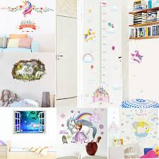 Unicorn Star Chart Us 3 03 27 Off Cartoon Castle Unicorn Rainbow Moon Star Cloud Height Measure Wall Stickers For Kids Room Children Growth Chart Poster Mural In Wall