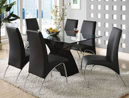 cool dining room tables. Terrific Black Dining Room Sets With 6 Chairs And Glass Table Comfy Rug Beneath Open Outdoor View Cool Tables