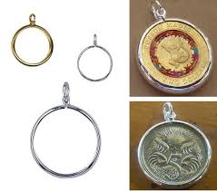 locket pendant coin frame plain sterling silver or 9ct yellow gold
