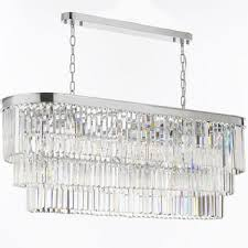 retro odeon glass fringe rectangular chandelier lighting chrome