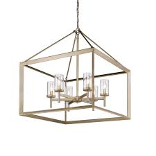 golden lighting s smyth 6 light chandelier white gold clear glass 2073