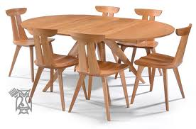 custom built solid cherry wood catalina extension round table chair set in natural finish