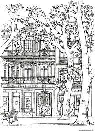 Coloriage Architecture Maison Arbre Dessin