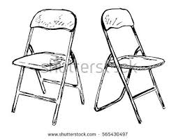 armchair drawing step by step. two folding chairs on a white background isolation. vector illustration in sketch style. armchair drawing step by