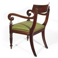 generous regency mahogany desk armchair in horsehair fabric