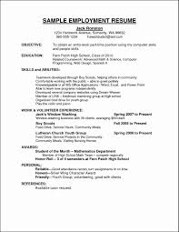 Part Time Job Resume Sample Curriculum Vitae For Employment Free