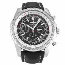 black leather band black dial with chronograph breitling watch