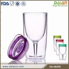 china double wall insulated acrylic wine glass tumbler with lid and straw