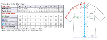 Chef Jacket Size Chart Mens Short Sleeve Active Chef Coat Kng Com