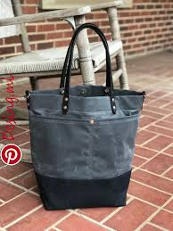 waxed canvas tote bag with leather handles shoulder sewing inspiration bags