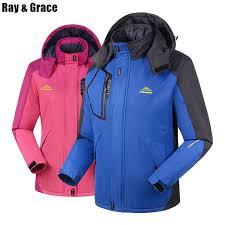 ray grace plus size thick winter hiking outdoor jacket waterproof windproof sports coat fleece thermal parka men women skiing kyum20303