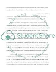 Classroom Observation Of Teacher Checklist Template Shootfrank Co