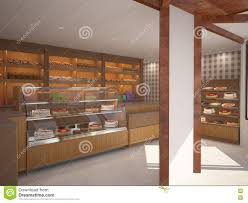 3d Visualization Of A Bakery Interior Design Stock Illustration