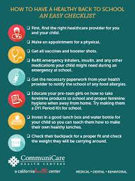 Checklist For School How To Have A Healthy Back To School An Easy Checklist