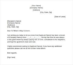 Good Example For Tenant Reference Letter