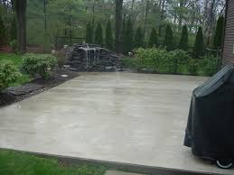 patio cement patio paint ideas with small fountain design ideas